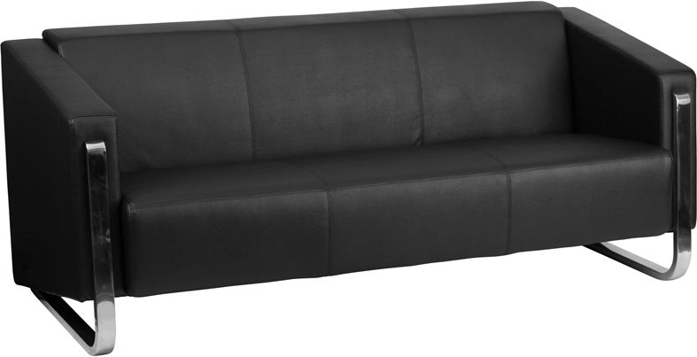 HERCULES Gallant Series Contemporary Black Leather Sofa with Stainless Steel Frame - Sofas