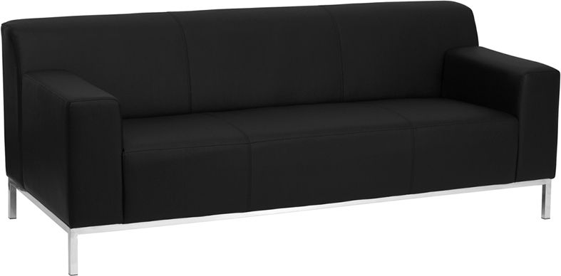 HERCULES Definity Series Contemporary Black Leather Sofa with Stainless Steel Frame - Sofas