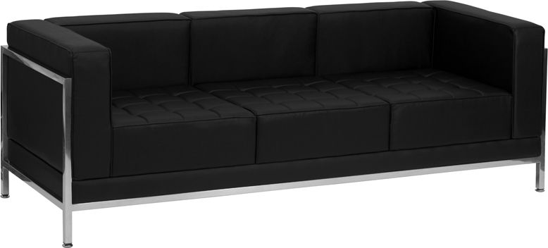 HERCULES Imagination Series Contemporary Black Leather Sofa with Encasing Frame - Sofas