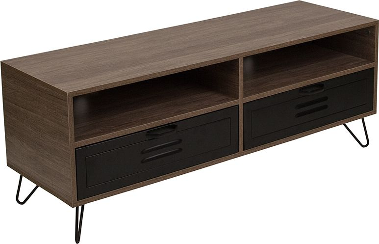 Woodridge Collection Rustic Wood Grain Finish Tv Stand With Metal Drawers And Black Metal Legs Media