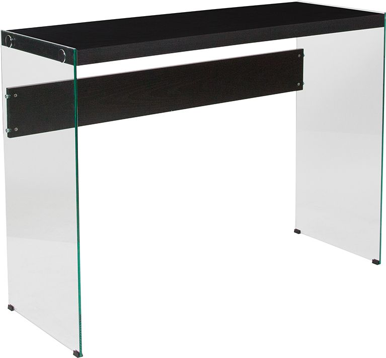 Highwood Collection Espresso Finish Console Table with Shelves and Glass Frame - Sofa