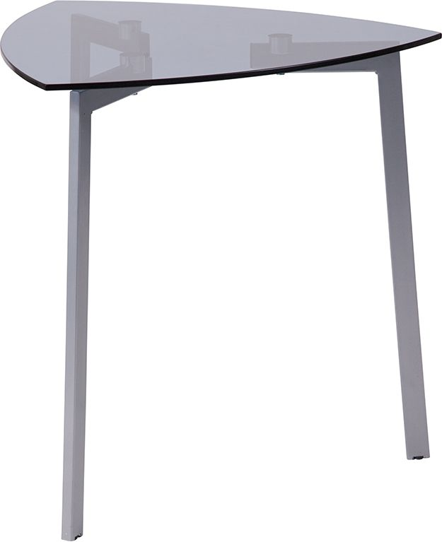 Brighton Collection Smoked Glass Triangular Side Table with Silver Metal Legs - Sofa