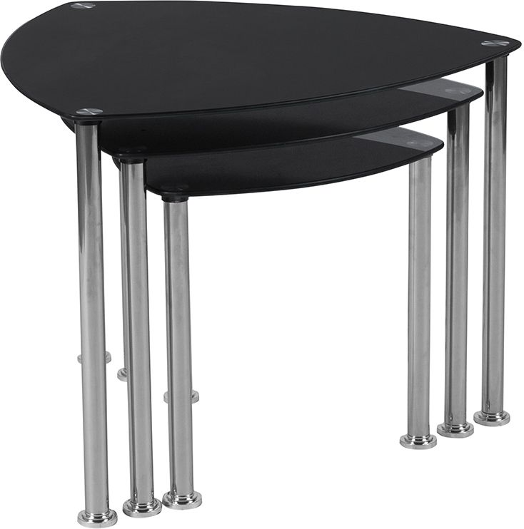 Pacific Heights Black Glass Nesting Tables with Stainless Steel Legs - Sofa