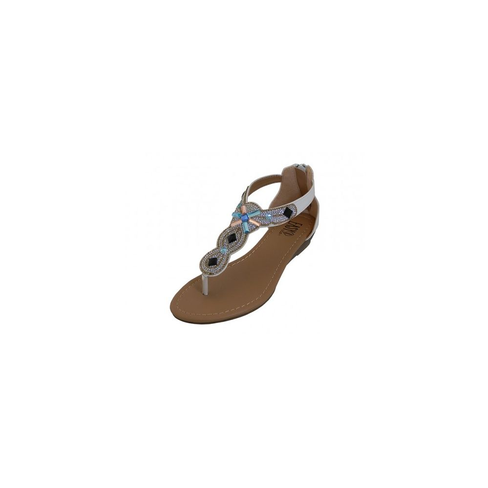 18 Units of Lady Rhinestone Sandals With Back Zipper White Size 6-11