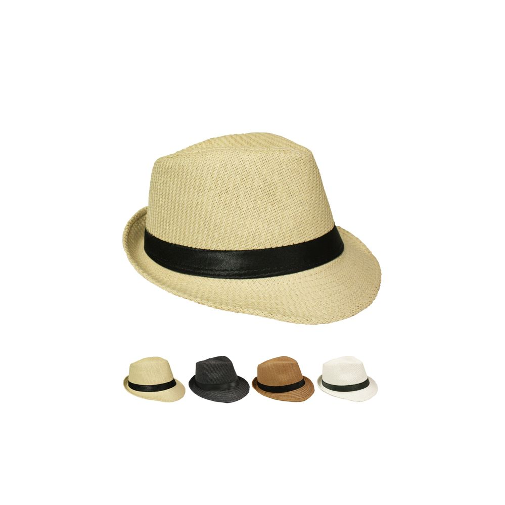 12 Units of NATURAL STRAW FEDORA HAT IN ASSORTED COLORS