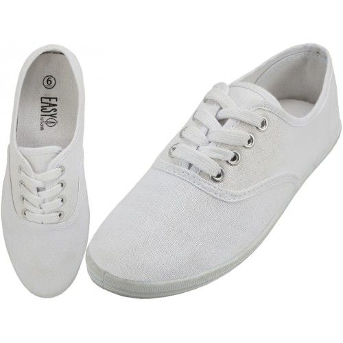 b8427061d2 24 Units of Women s Lace Up Casual Canvas Shoes (  White Color ) Size 5 -  Women s Sneakers - at - alltimetrading.com