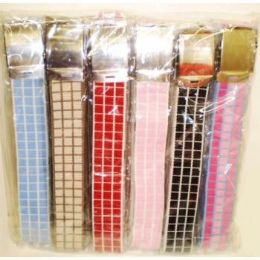 144 Units of Ladies Canvas Belt With Checker Design - Womens Belts