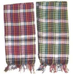 60 Units of Ladies Designer Look Plaid Square Shaped Scarf - Womens Fashion Scarves