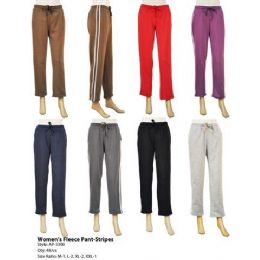 48 Units of Womens Fleece Pants with Stripes - Womens Pants