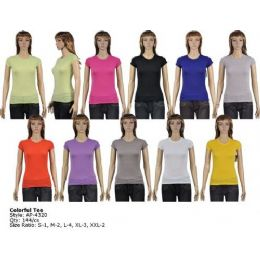 144 Units of Womans Colort=ful T-Shirt - Womens Fashion Tops