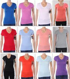 144 Units of Women's V Neck T-Shirt - Women's T-Shirts