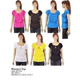 144 Units of Womans Ruffle Top - Womens Fashion Tops