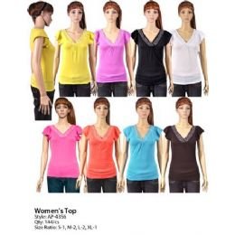144 Units of Womans Short Sleeve V Neck - Womens Fashion Tops