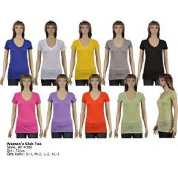 72 Units of Womans Slub T Shirt - Womens Fashion Tops