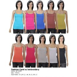144 Units of Women's Fashion Cami with Embroidery - Womens Camisoles & Tank Tops
