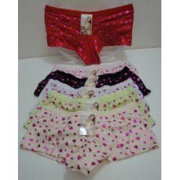 144 Units of Ladies Panties--Metallic Hearts - Womens Panties & Underwear