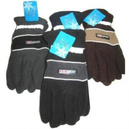 72 Units of Mens Fleece Reflective Gloves - Fleece Gloves