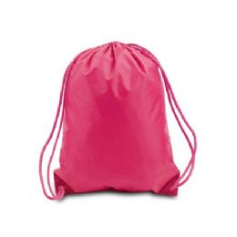 60 Units of Drawstring Backpack - Hot Pink - Backpacks 17""