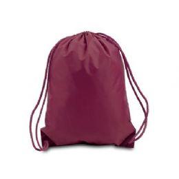 "60 Units of Drawstring Backpack - Maroon - Backpacks 15"" or Less"