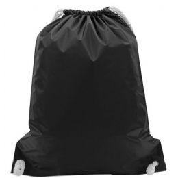 "48 Units of White Drawstring Backpack-Black - Backpacks 15"" or Less"