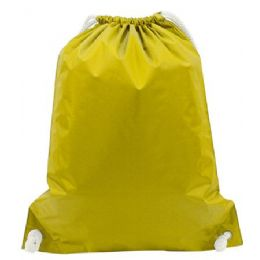 """48 Units of White Drawstring Backpack-Bright Yellow - Backpacks 15"""" or Less"""