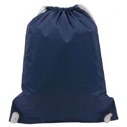 """48 Units of White Drawstring Backpack-Navy - Backpacks 15"""" or Less"""