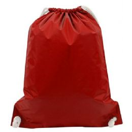 """48 Units of White Drawstring Backpack-Red - Backpacks 15"""" or Less"""