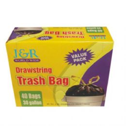 12 Units of Garbage Bag Drawstring Trash 30Gal 40ct - Garbage & Storage Bags