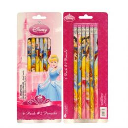 48 Units of Pencil #2 6PK Princess - Licensed School Supplies