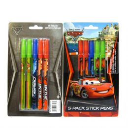 96 Units of Stick Pen 5PK Cars - Licensed School Supplies