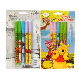 48 Units of Stick Pen 5PK Pooh - Licensed School Supplies