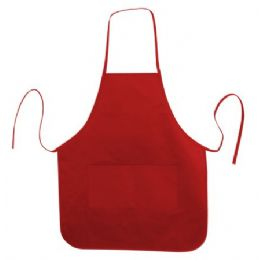 72 Units of  Long Round Bottom Cotton Twill Apron Red - Kitchen Linens