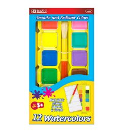 72 Units of Bazic Water Color Set With Brush & Mixing Palette - Paint, Brushes & Finger Paint