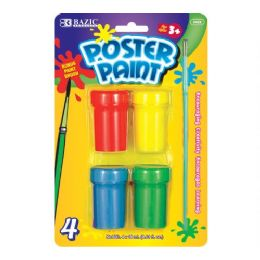 144 Units of Bazic 4 Color Poster Paint With Brush - Paint, Brushes & Finger Paint