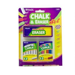 144 Units of BAZIC 12 Color & 12 White Chalk w/ Eraser Sets - Chalk,Chalkboards,Crayons