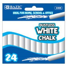 72 Units of BAZIC Dustless White Chalk (24/Box) - Chalk,Chalkboards,Crayons