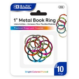 """144 Units of Bazic 1"""" Assorted Color Metal Book Rings (10/pack) - Clips and Fasteners"""