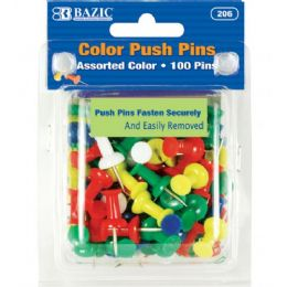 144 Units of Bazic Assorted Color Push Pins (100/pack) - Push Pins and Tacks