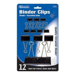 144 Units of BAZIC Assorted Size Black Binder Clip (12/Pack) - Clips and Fasteners
