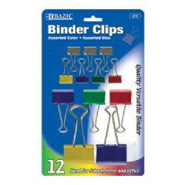 144 Units of Bazic Assorted Size Color Binder Clip (12/pack) - Clips and Fasteners