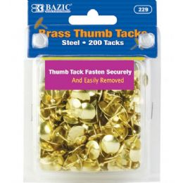 144 Units of Bazic Brass (gold) Thumb Tack (200/pack) - Push Pins and Tacks