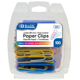 72 Units of Bazic Jumbo (50mm) Color Paper Clips (100/pack) - Clips and Fasteners