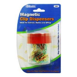 144 Units of Bazic Magnetic Paper Clips Holder W/ 50 Ct. Small Color Paper Clip - Clips and Fasteners
