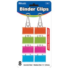 "144 Units of BAZIC Medium 1 1/4"" (32mm) Assorted Color Binder Clip (8/Pack) - Clips and Fasteners"