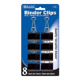 """144 Units of Bazic Medium 1 1/4"""" (32mm) Black Binder Clip (8/pack) - Clips and Fasteners"""
