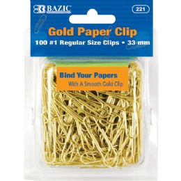 72 Units of BAZIC No.1 Regular (33mm) Gold Paper Clips (100/Pack) - Clips and Fasteners