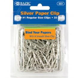 72 Units of BAZIC No.1 Regular (33mm) Silver Paper Clips (200/Pack) - Clips and Fasteners