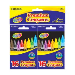 72 Units of BAZIC 16 Color Premium Quality Crayon (2/Pack) - Chalk,Chalkboards,Crayons