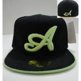 "24 Units of Fitted Hat-Black with Green ""A"" - Bucket Hats"