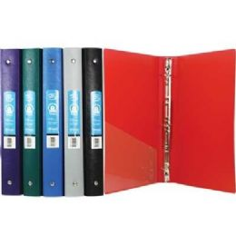 """48 Units of BAZIC 1"""" Matte Color Poly 3-Ring Binder w/ Pocket - Clipboards and Binders"""
